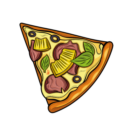 Slice of pizza. Ham, olives, cheese, pineapple. Illustration. Isolated images on white background. Vintage style. 向量圖像