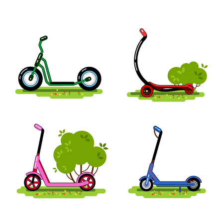 Set of scooters. Balance bikes. ECO alternative urban transport. Vector illustration. Isolated images on white background.