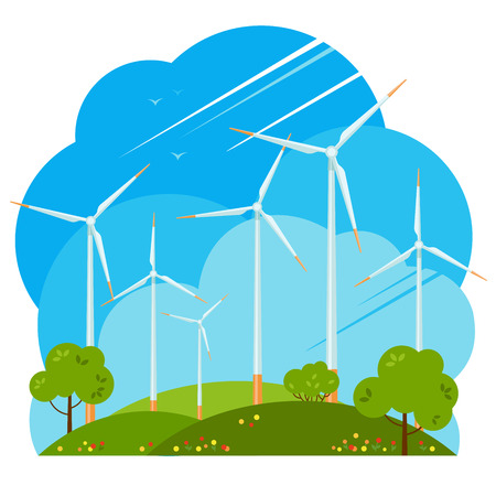Windmills on green fields. House. Wind turbines produce energy in nature. Alternative energy source. House in field. Vector illustration. Isolated images on white background.