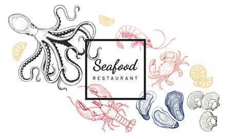 Seafood. Oyster, sea scallop, crab, shrimp, lobster, Octopus. Vector illustration. Vintage style. Templates for design sea shops, restaurants, markets.