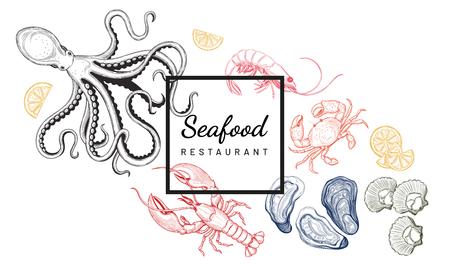 Seafood. Oyster, sea scallop, crab, shrimp, lobster, Octopus. Vector illustration. Vintage style. Templates for design sea shops, restaurants, markets. Ilustração Vetorial