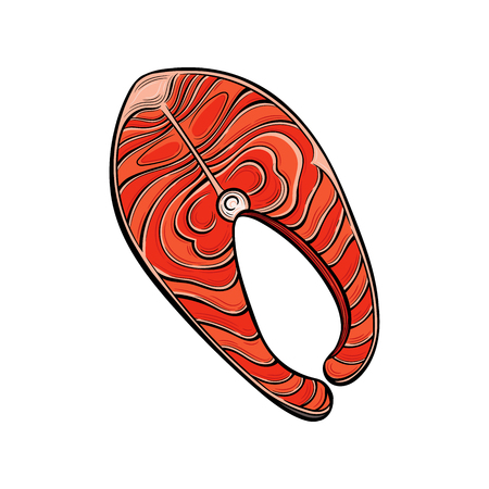 Piece of Salmon fish. Seafood. Vector illustration. Isolated images on white background. Vintage style. 版權商用圖片 - 112039597