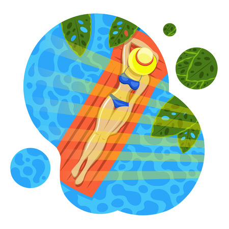 Woman sunbathing in the pool. Summer. Illustration. Isolated on white background. Çizim