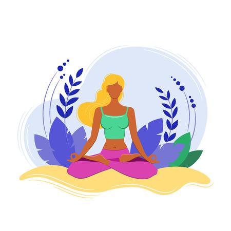 Yoga Fitness Concept. Sport women. Vector illustration. Isolated image on white background. Illustration