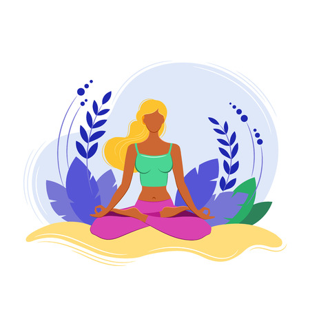 Yoga Fitness Concept. Sport women. Vector illustration. Isolated image on white background. Çizim