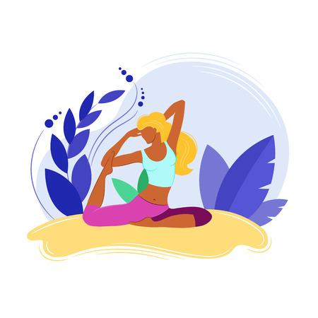 Yoga Fitness Concept. Sport women. Vector illustration. Isolated image on white background. Ilustração