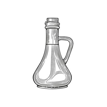 Glass jugs and a bottle of olive oil. Vector illustration. Vintage style. Templates for decoration of shops, restaurants, markets. 版權商用圖片 - 116021424