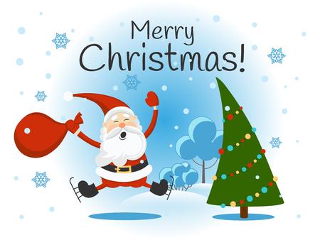 Bird, gift, rowan berries. Bullfinch. Christmas vector illustration. Isolated image on white background. Vintage style.