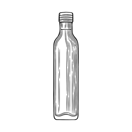 Glass bottle with olive oil. Vector illustration. Vintage style. Templates for decoration of shops, restaurants, markets.