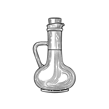 Glass jugs and a bottle of olive oil. Vector illustration. Vintage style. Templates for decoration of shops, restaurants, markets. Archivio Fotografico - 116021438