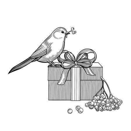 Bird, gift, rowan berries. Bullfinch. Christmas vector illustration. Isolated image on white background. Vintage style. 版權商用圖片 - 116021441