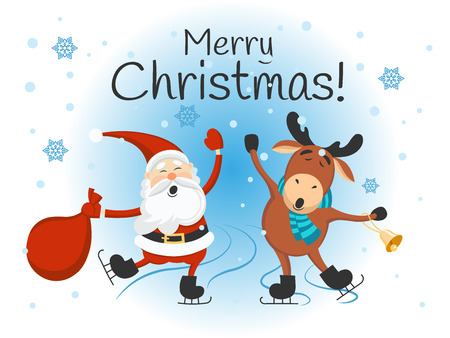 Merry Christmas! Santa Claus and Reindeer. Winter landscape. Vector illustration.