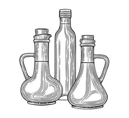 Jarras de vidrio y una botella de aceite de oliva. Ilustración de vector. Estilo vintage. Plantillas para decoración de tiendas, restaurantes, mercados. Ilustración de vector