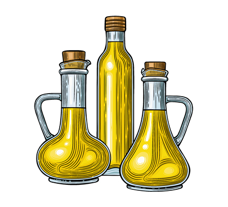 Glass jugs and a bottle of olive oil. Vector illustration. Vintage style. Templates for decoration of shops, restaurants, markets. Archivio Fotografico - 116021557
