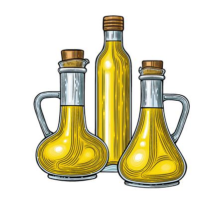 Glass jugs and a bottle of olive oil. Vector illustration. Vintage style. Templates for decoration of shops, restaurants, markets. 版權商用圖片 - 116021557