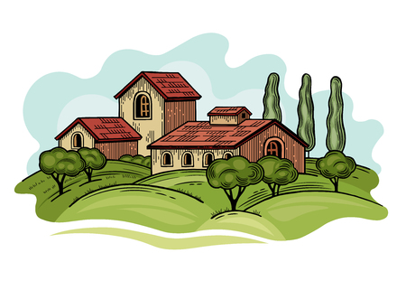 Rural landscape with Villa or farmhouse, field, trees and cypress trees. Vector illustration. Isolated images on white background. Vintage style. 版權商用圖片 - 116021560