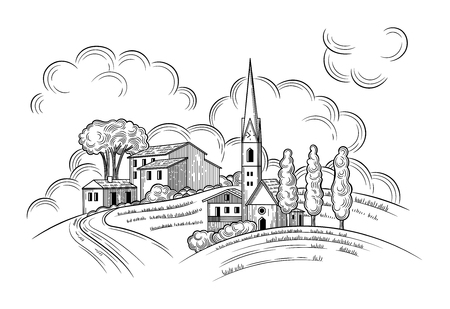 Rural landscape with Villa or farmhouse, Church, field, trees and cypress trees. Vector illustration. Isolated images on white background. Vintage style. Çizim