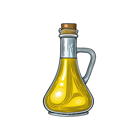 Glass jug with olive oil. Vector illustration. Vintage style. Templates for design shops, restaurants, markets. Çizim