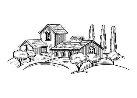 Rural landscape with Villa or farmhouse, field, trees and cypress trees. Vector illustration. Isolated images on white background. Vintage style. Archivio Fotografico - 116021596