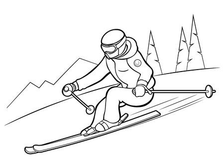 Narciarz w ośrodku narciarskim. Zimowa rozrywka. Wakacje.