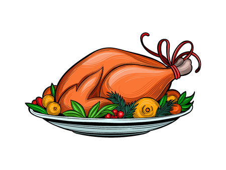 Roasted Turkey on a platter of fruit. Merry Christmas and happy New year. Isolated image on white background.