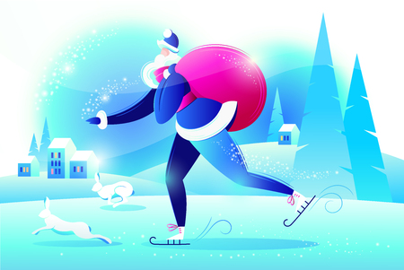 Santa Claus on skates in a hurry with gifts, near jumping rabbits. New year. Winter landscape. Vector illustration. Çizim