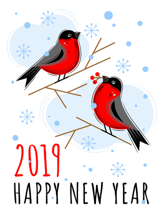 Bullfinches in the snow. Vector Christmas cards. Happy New year 2019. For Christmas decoration and other winter holidays. Vector illustration. Çizim