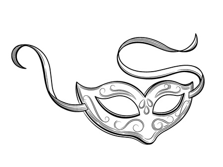Carnival mask for fancy dress. Vector illustration. Isolated on white background. Çizim