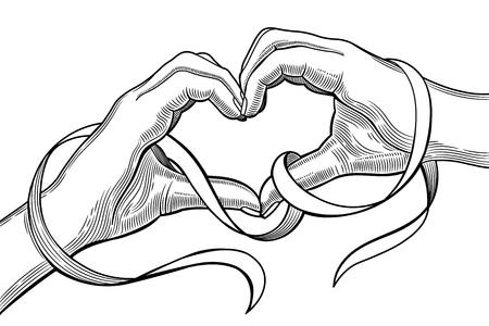 Happy Valentines Day. Hands in the form of heart. Illustration isolated on a white background.