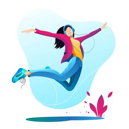 Girl with headphones listens to music and jumps up. Happiness. Music. Vector illustration on white background.