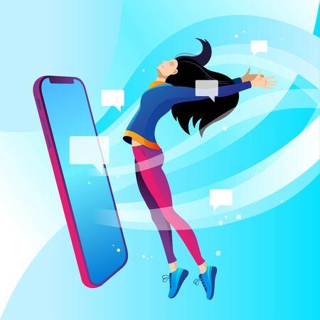 Social media addiction. Girl and phone. Vector illustration on white background.