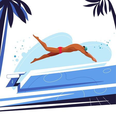 Swimmer dives into the pool. Illustration on white background.