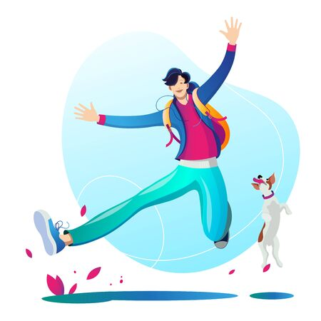A man walking and playing with his dog. Character. Illustration on white background.
