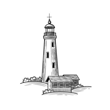 The lighthouse stands on a hill, next to a small house. Vector illustration on white background. Retro. Illustration