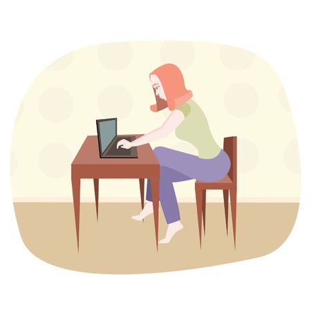 animated film: The girl sits at the computer.