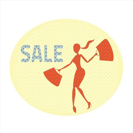 operation for: Sale banner with beautiful woman carrying bags