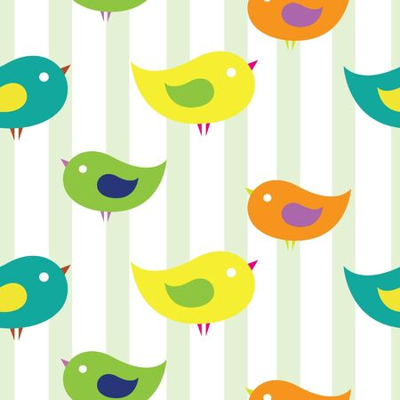 Seamless children s background with birdies  Wallpaper with strips Vector