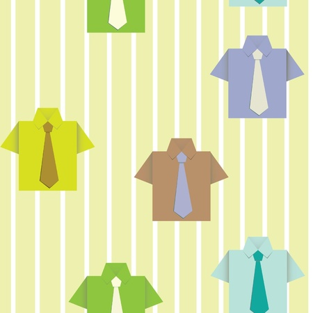 Seamless background with a paper shirt. Wallpaper with a strip. Vector