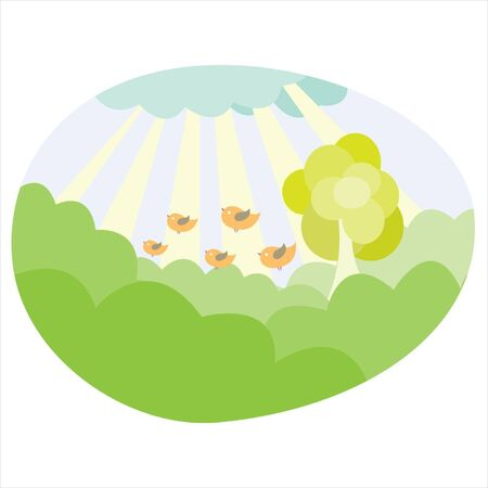 Warm summer day with birds. Grass and sun rays Stock Vector - 18279428