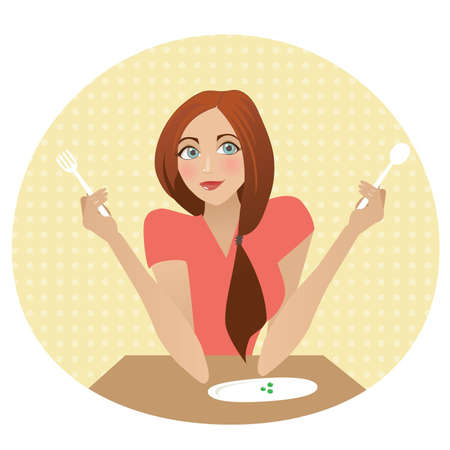 moderation: The girl with table subjects. On a plate peas. Illustration