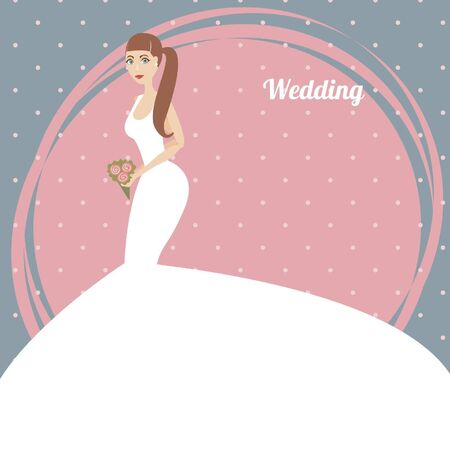 Elegant  bride with a bouquet on blue background Vector