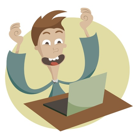 Good news in the computer at the young man Stock Vector - 18625844