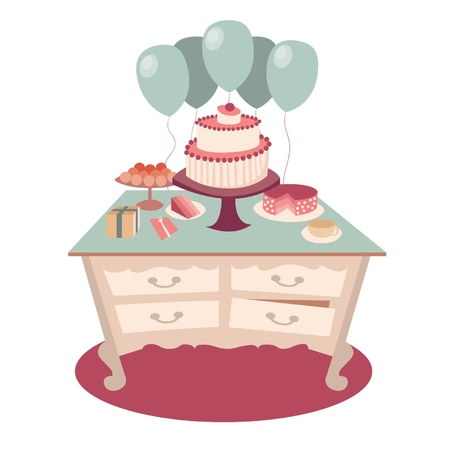 festive table with sweets, tea and balloons Vector