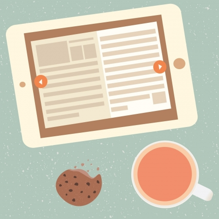 e-book and cup of tea Vector