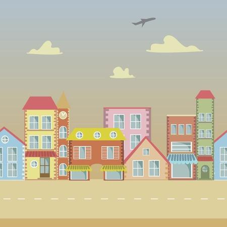 animated film: seamless Vector cartoon town