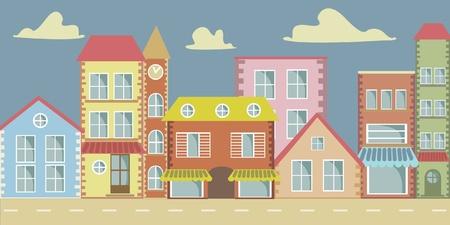 animated film: Vector cartoon town
