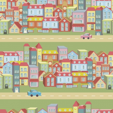 cartoon house:  seamless pattern with houses and roads Illustration
