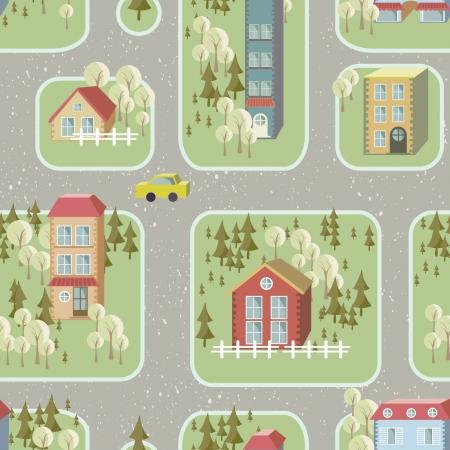 street illustration seamless pattern Vector