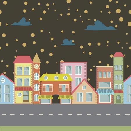 animated film: night seamless cartoon town