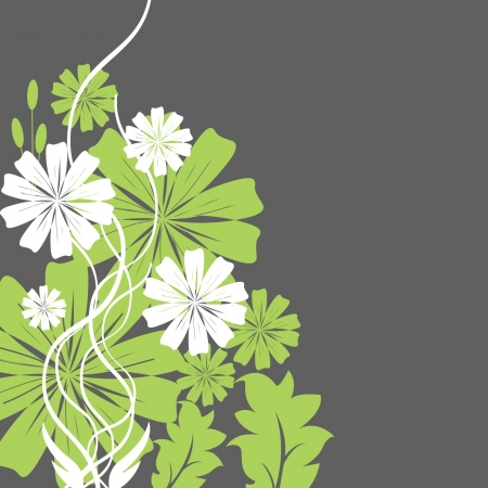 green and white flowers Vector
